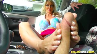 Blonde Milf Sucks And Wanks Me With Her Feet In The Car