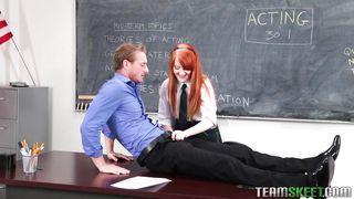 Redhead Sucks Teacher's Cock For A Better Grade
