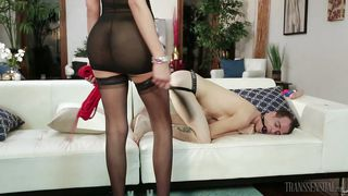 Collared Slave Gets His Ass Reamed By Blonde Tranny Mistress