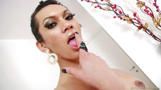 Short Haired Transsexual Has A Rock Hard Cock