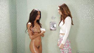 Hot Lesbian Caresses Under The Shower  Blind Love