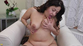 Mature Chubby Woman Licks Her Nipples