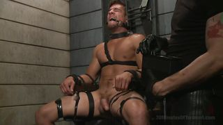 Restrained Guy Is Dripping With Sweat