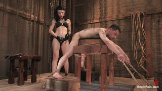 Brunette Gives Her Man Some Pain