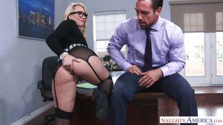 Blonde Sexy Babe Sucks Her Boss's Cock