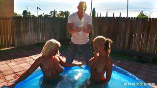 Busty Blonde Women Wrestling In Water