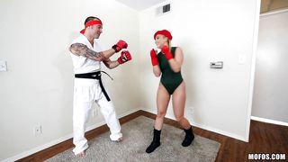 Boxing Babe Sucks Cock