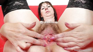 Cougar Gapes And Fills Her Hairy Pussy