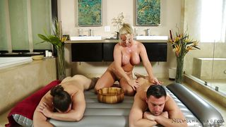 Pervert Masseuse Seduced Two Strong Guys To Get Fucked