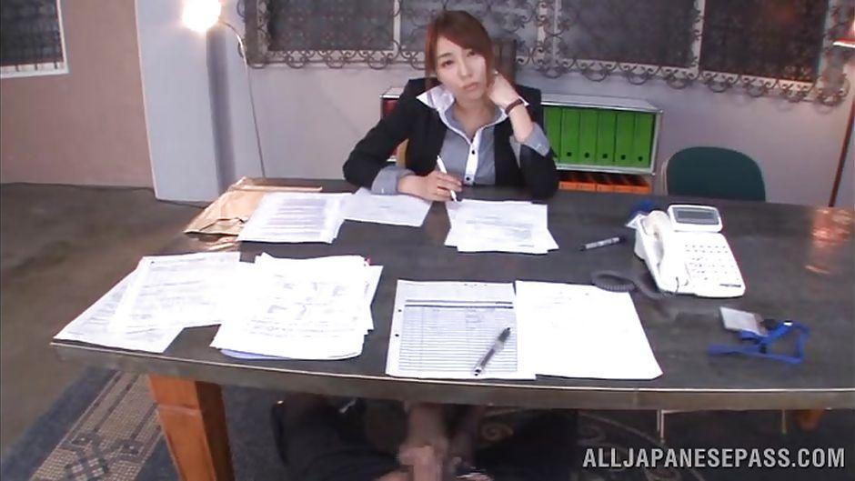 Japanese office footjob