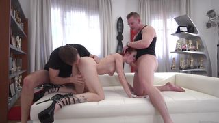 Redhead Milf Gets Two Fat Dicks Simultaneously  Rocco's Intimate Castings #16