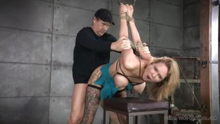 Bonded Bitch Fucked By Two Cocks
