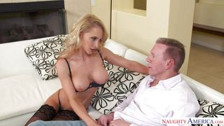 Blonde Milf In Lingerie Pays Debts With Her Skills