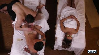 Horny Masseur Sucks His Dick Beside Clueless Gf
