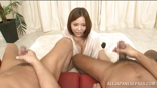 Big Breasted Japanese Cutie Loves To Watch Guys Masturbate