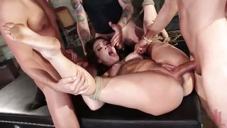 Bound Kimber Woods Fucked Hard By Three Horny Guys