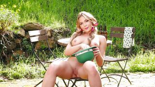 Pigtailed Cutie Feels The Fresh Air, As She Plays With Her Dildo