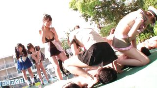 Teen Schoolgirls Fuck An Old Man By The Swimming Area
