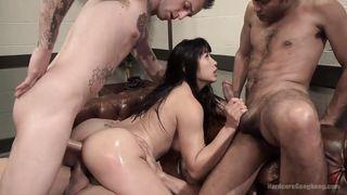 Asian Brunette Slut Gets Fucked By Gang