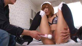 Japanese Maid Has Her Pussy Toyed With