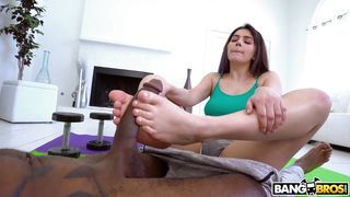 Sweet Valentina Uses Her Feet And Mouth To Make A Monster Cock Shoot Sperm
