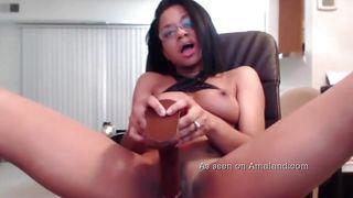 Cute Ebony Slut Gets Sexy With A Dildo On Camera
