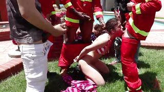 Victoria Voxxx Versus Five Muscular Firefighters